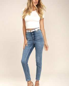 Cheap Monday Donna Medium Wash High-Waisted Distressed Jeans