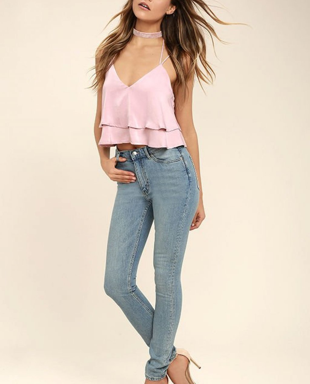 Cheap Monday Second Skin Light Blue High-Waisted Skinny Jeans