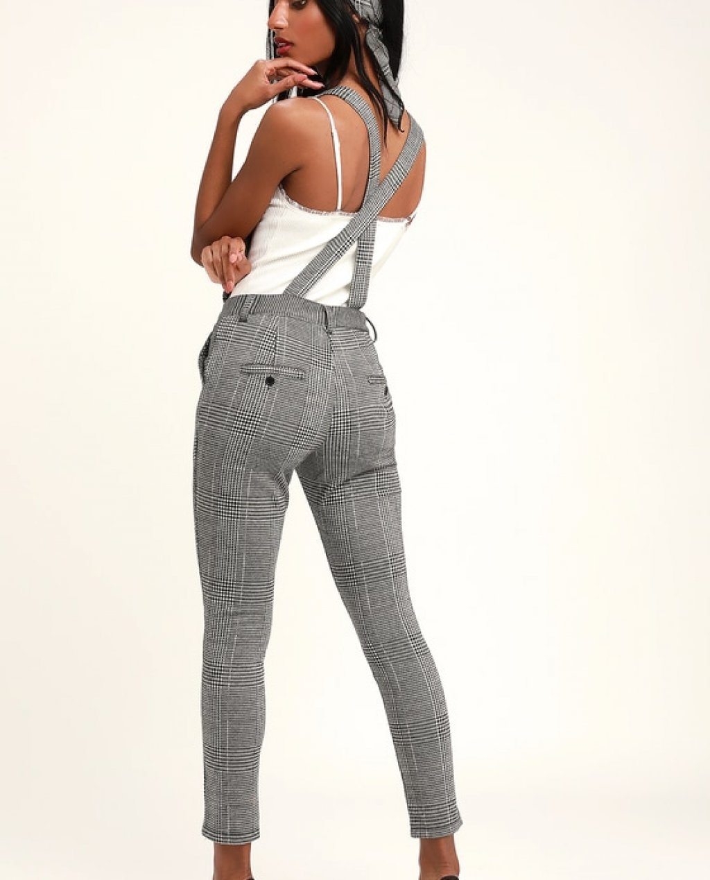 Checkmate Black and White Glen Plaid Jumpsuit