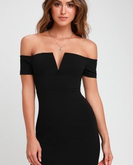 Cheers to This Black Off-the-Shoulder Bodycon Dress