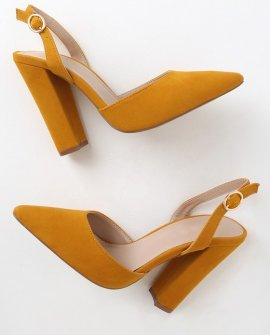 Cheery Mustard Suede Pointed-Toe Slingback Pumps