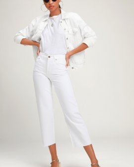 Cher White Wide Leg High-Waisted Cropped Jeans
