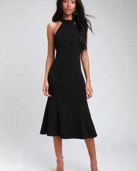 Cherished Charm Black Backless Midi Dress