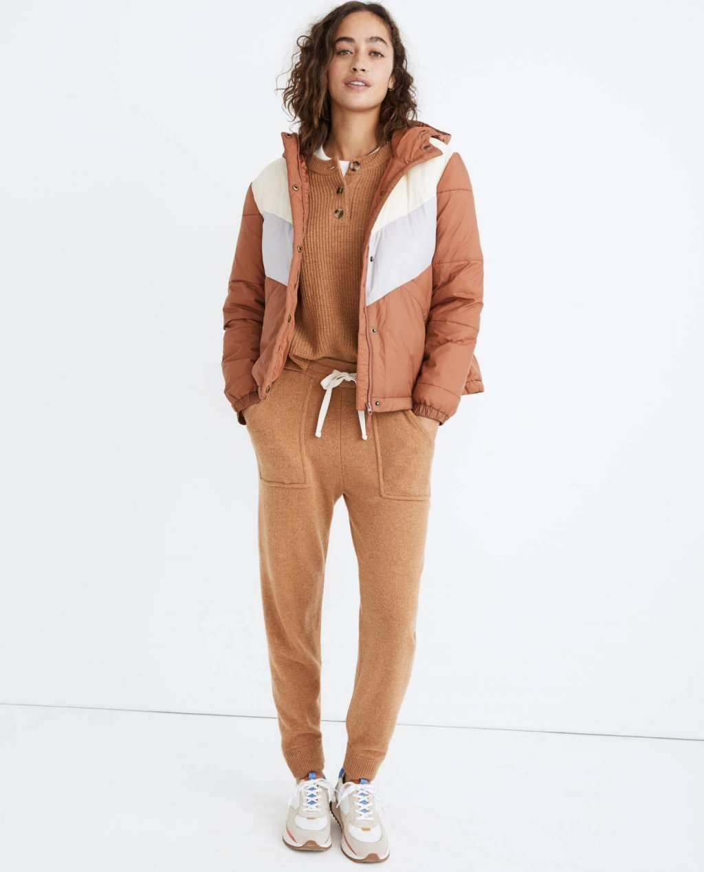 Chevron Packable Puffer Jacket in Colorblock