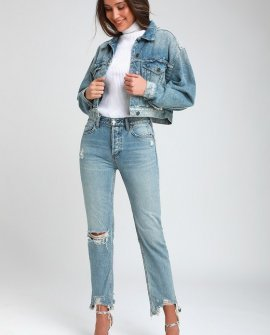 Chewed Up Light Wash Distressed Mid-Rise Straight Leg Jeans