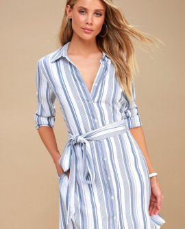 Chic Executive Blue and White Striped Shirt Dress