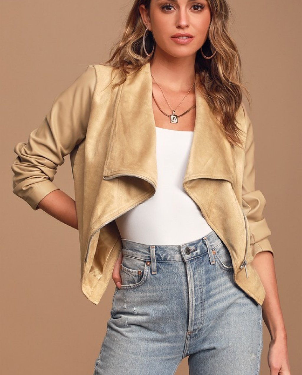 Chic-est of Them All Beige Suede Draped Moto Jacket
