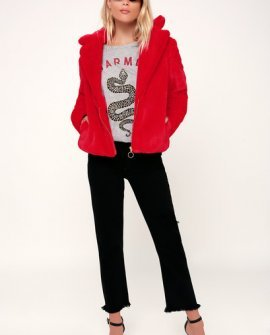 Chicago Red Faux Fur Cropped Coat