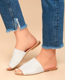Chinese Laundry Bahiti White Leather Slide Sandals