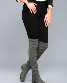 Chinese Laundry Festive Gunmetal Suede Over the Knee Boots