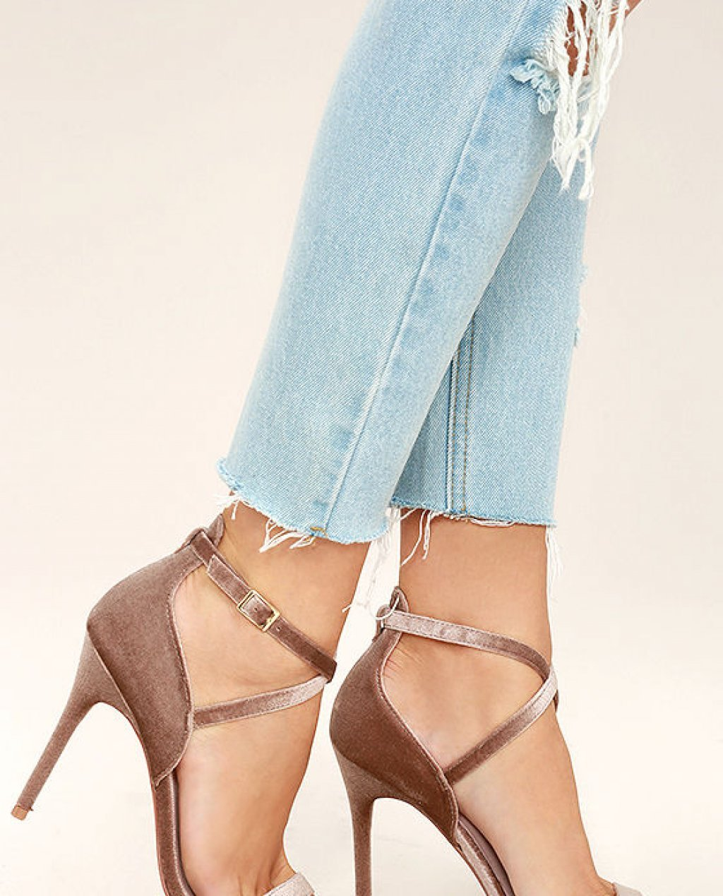 Chinese Laundry Lavelle Nude Velvet High Heel Sandals