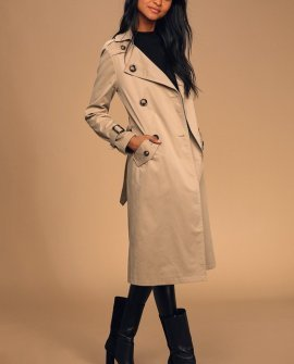 City Slicker Khaki Double Breasted Trench Coat