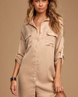 City Strut Taupe Shirt Dress