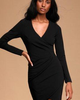 Classy Gal Black Long Sleeve Faux Wrap Bodycon Mini Dress