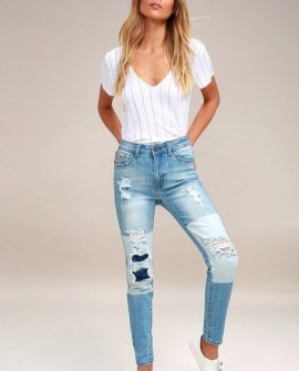 Cleo Light Wash Two-Tone Distressed Skinny Jeans