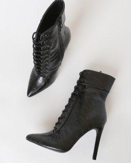 Cleva Black Crocodile-Embossed Mid-Calf High Heel Booties
