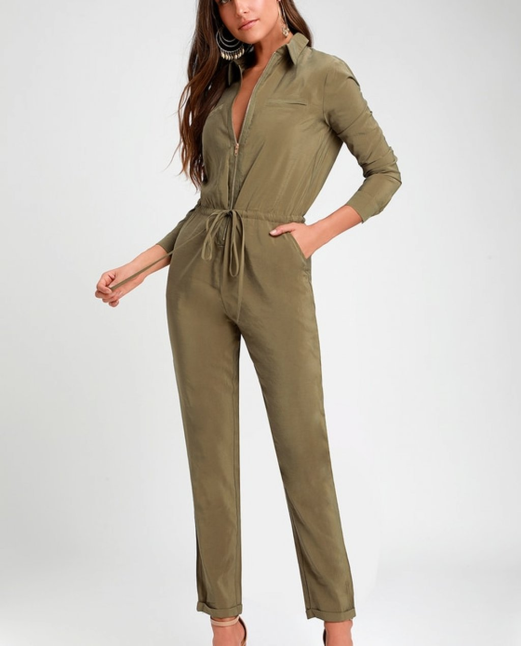 Clifton Washed Olive Green Long Sleeve Jumpsuit