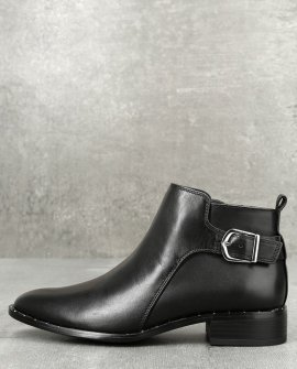 Clio Black Leather Ankle Booties