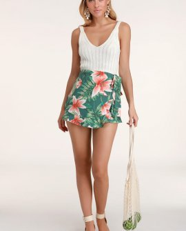 Coast of Carolina Green Tropical Print Ruffled Skort