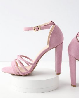 Cole Ash Lilac Suede Ankle Strap Heels