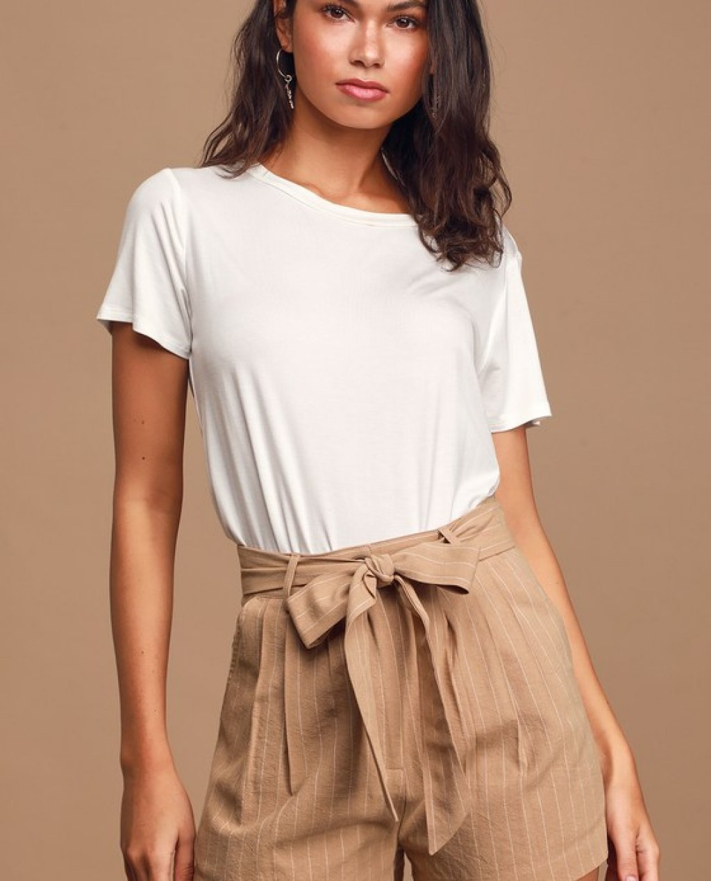 Collectively Cool Beige Pinstripe Pleated Belted Shorts