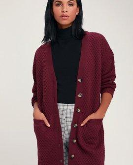 Colman Burgundy Knit Long Cardigan Sweater