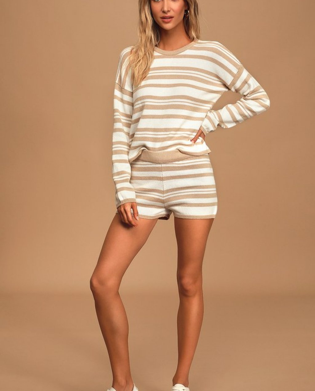 Comfy Cozy Tan and White Striped Knit Sweater Shorts