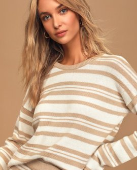 Comfy Cozy Tan and White Striped Knit Sweater