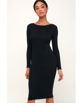 Connelly Black Ribbed Long Sleeve Bodycon Midi Dress