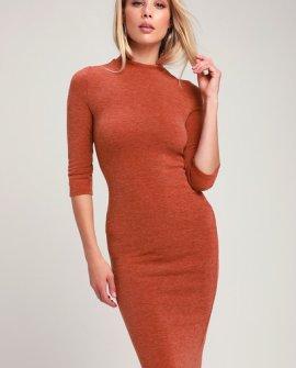 Conversation Starter Rust Orange Mock Neck Midi Sweater Dress