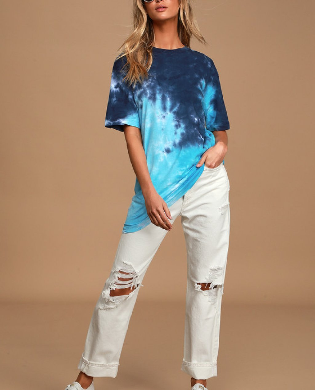 Cool Girl Approved Blue Tie-Dye Oversized Tee