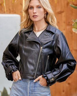 Cool to the Core Black Vegan Leather Moto Jacket