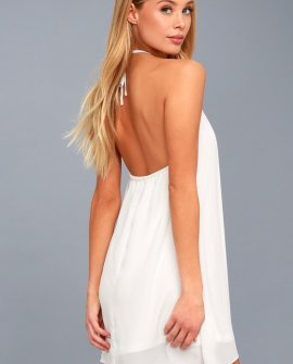 Copacabana White Halter Shift Dress