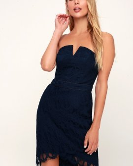 Corazon Navy Blue Lace Strapless Bodycon Dress