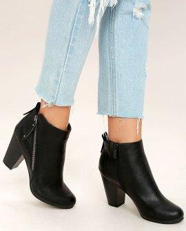 Cordelia Black High Heel Ankle Booties