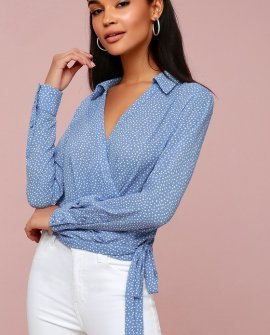 Corin White and Light Blue Polka Dot Long Sleeve Wrap Top