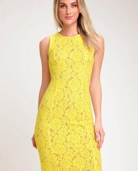 Corita Yellow Lace Sleeveless Midi Dress