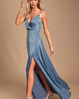 Costantine Slate Blue Satin Maxi Dress