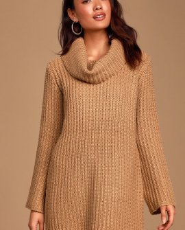 Couldn't Be Camel Brown Turtleneck Sweater Dress