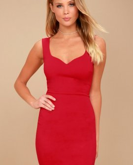 Count On It Red Sleeveless Bodycon Dress