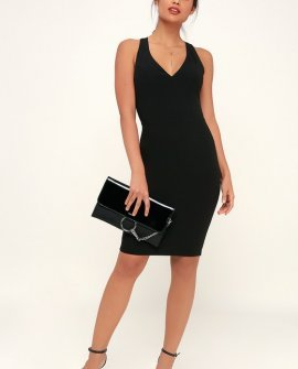Count the Stars Black Backless Bodycon Dress