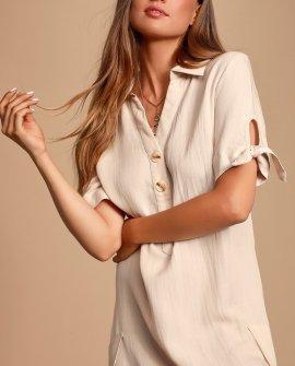 Countryside Beige Tie-Sleeve Shirt Dress