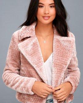Cozy Business Blush Pink Faux Fur Moto Jacket