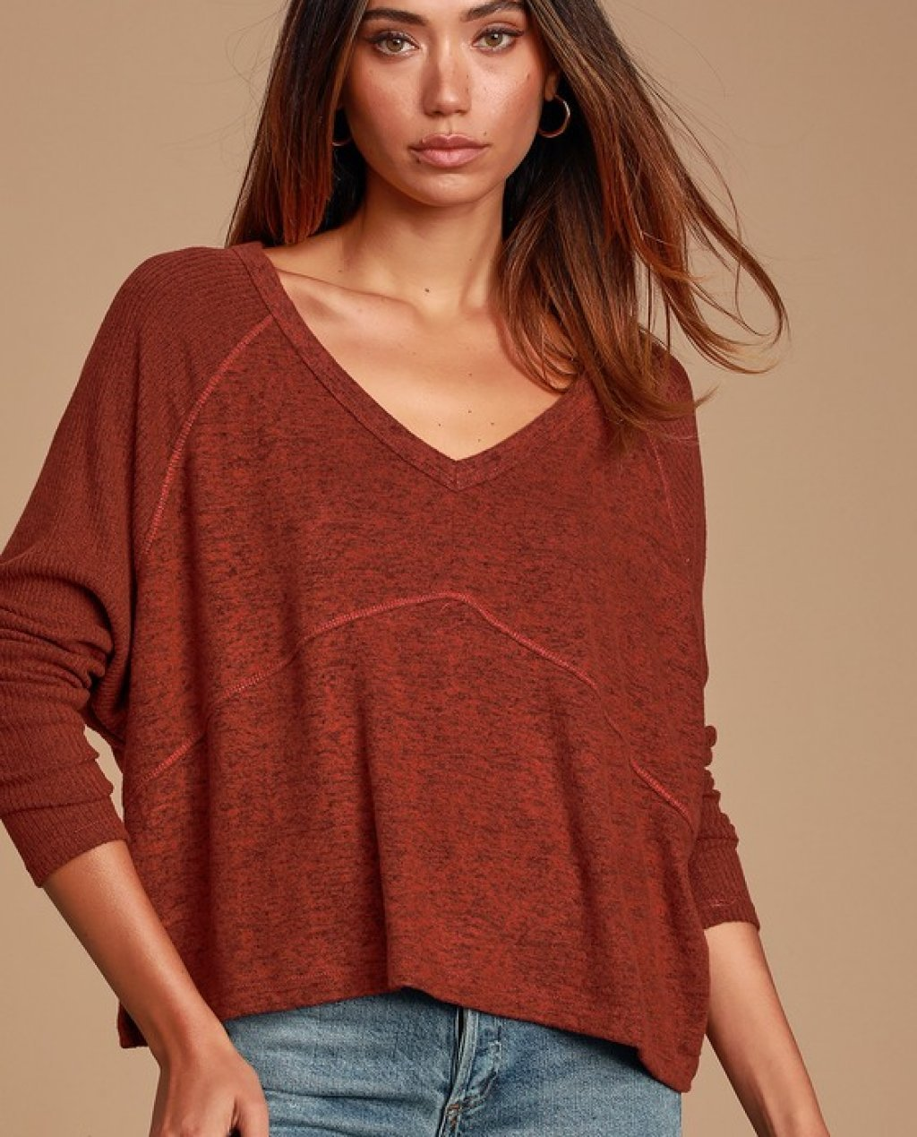 Cozy Central Rust Orange Ribbed Sweater Top
