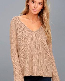 Cozy Cutie Blush Knit V-Neck Sweater