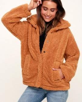 Cozy Days Camel Snap Front Sherpa Jacket
