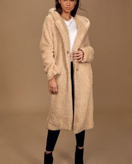 Cozy Mindset Tan Teddy Oversized Coat