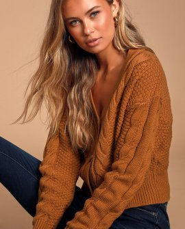 Cozy Time Rust Brown Cable Knit Cropped Cardigan Sweater