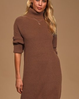 Cozy Up To You Brown Turtleneck Sweater Dress
