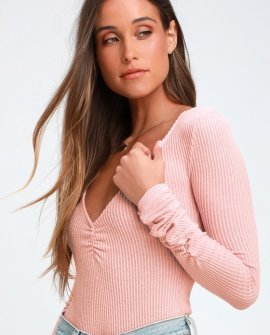 Cozy Up With Me Rose Pink Ribbed Long Sleeve Bodysuit